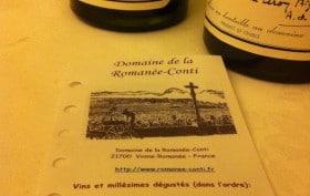 Dégustation vins de la Romanée Conti
