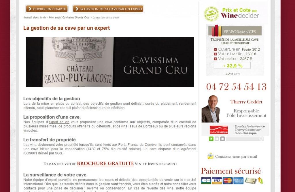 L'investissement dans le vin : cavissima a sa page