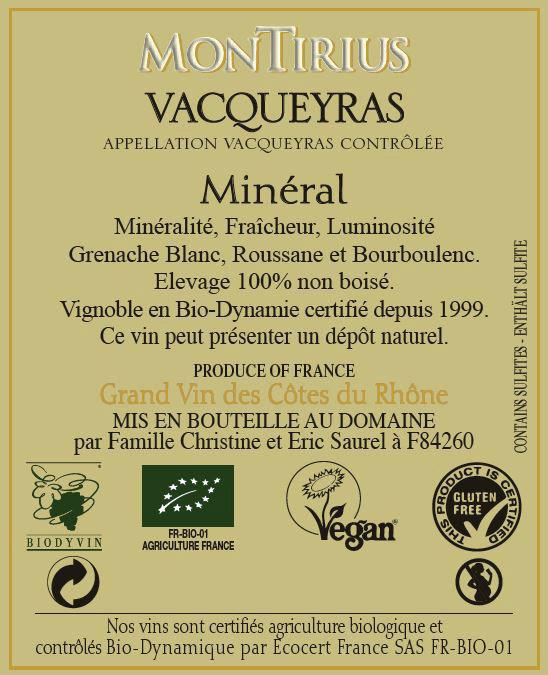 Etiquette certification vegan gluten free pour les vins du domaine Montirius Appellation Vacqueyras