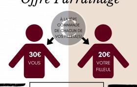 infographie 50€ à partager entre le parrain et le filleul